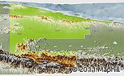 Physical Panoramic Map of West Sepik, semi-desaturated