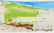 Physical Panoramic Map of West Sepik, shaded relief outside