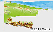 Physical Panoramic Map of West Sepik, single color outside