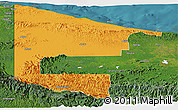 Political Panoramic Map of West Sepik, satellite outside