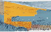 Political Panoramic Map of West Sepik, semi-desaturated