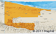 Political Panoramic Map of West Sepik, shaded relief outside