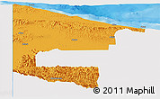 Political Panoramic Map of West Sepik, single color outside