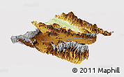 Physical Panoramic Map of Western Highlands, cropped outside