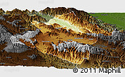 Physical Panoramic Map of Western Highlands, darken
