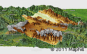 Physical Panoramic Map of Western Highlands, satellite outside