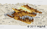 Physical Panoramic Map of Western Highlands, shaded relief outside