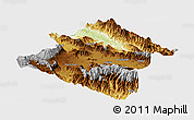 Physical Panoramic Map of Western Highlands, single color outside