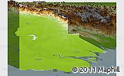 Physical Panoramic Map of Western, darken