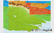 Physical Panoramic Map of Western, political outside
