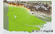 Physical Panoramic Map of Western, semi-desaturated