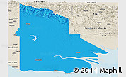 Political Panoramic Map of Western, shaded relief outside