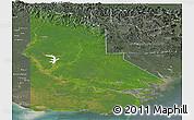 Satellite Panoramic Map of Western, semi-desaturated