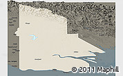 Shaded Relief Panoramic Map of Western, darken