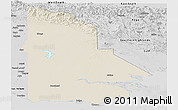Shaded Relief Panoramic Map of Western, desaturated