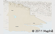 Shaded Relief Panoramic Map of Western, lighten