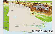 Shaded Relief Panoramic Map of Western, physical outside