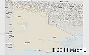 Shaded Relief Panoramic Map of Western, semi-desaturated