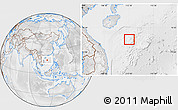 Physical Location Map of Paracel Islands, lighten, desaturated