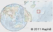 Physical Location Map of Paracel Islands, lighten, semi-desaturated