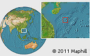 Physical Location Map of Paracel Islands, satellite outside