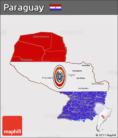 Flag 3D Map of Paraguay