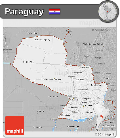 Gray 3D Map of Paraguay
