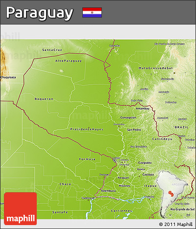 Physical 3D Map of Paraguay