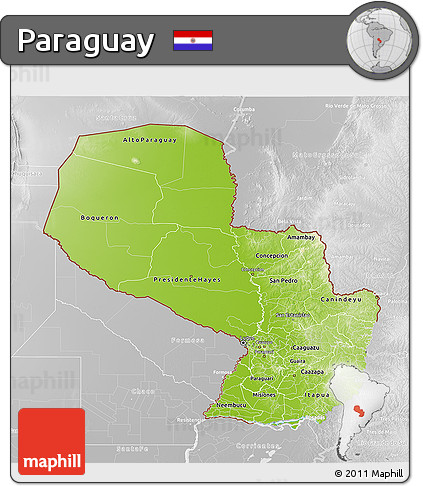 Physical 3D Map of Paraguay, lighten, desaturated