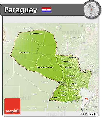 Physical 3D Map of Paraguay, lighten