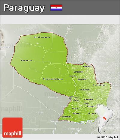 Physical 3D Map of Paraguay, lighten, semi-desaturated