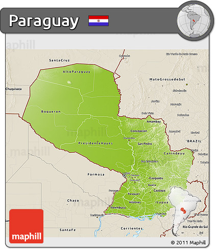 Physical 3D Map of Paraguay, shaded relief outside