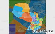 Political 3D Map of Paraguay, darken