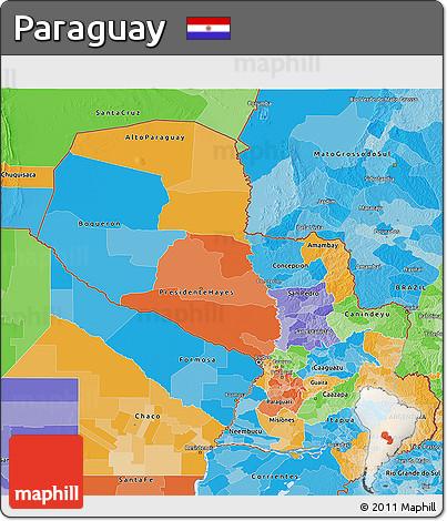 Political 3D Map of Paraguay