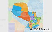 Political 3D Map of Paraguay, lighten