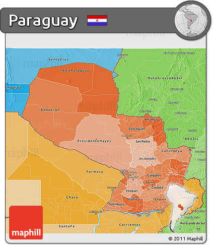 Political Shades 3D Map of Paraguay
