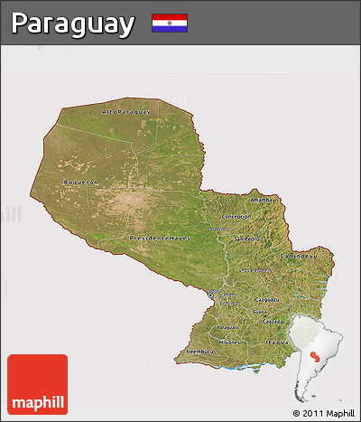 Satellite 3D Map of Paraguay, cropped outside