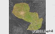Satellite 3D Map of Paraguay, darken, desaturated