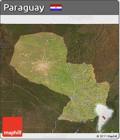 Satellite 3D Map of Paraguay, darken