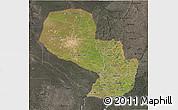 Satellite 3D Map of Paraguay, darken, semi-desaturated