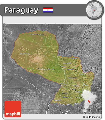 Satellite 3D Map of Paraguay, desaturated