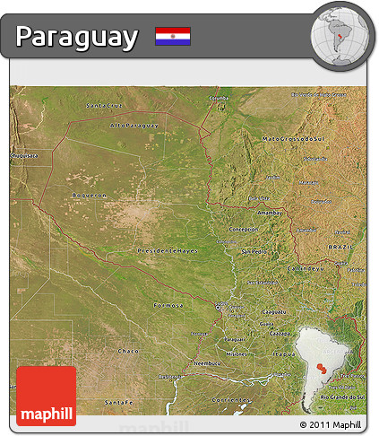 Satellite 3D Map of Paraguay