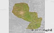 Satellite 3D Map of Paraguay, lighten, desaturated
