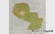 Satellite 3D Map of Paraguay, lighten, semi-desaturated