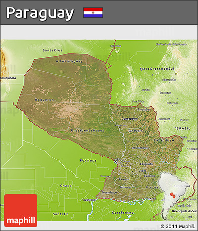 Satellite 3D Map of Paraguay, physical outside