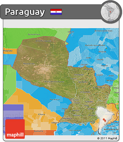 Satellite 3D Map of Paraguay, political outside