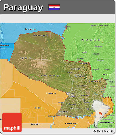 Satellite 3D Map of Paraguay, political shades outside
