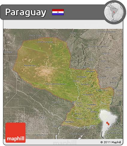 Satellite 3D Map of Paraguay, semi-desaturated