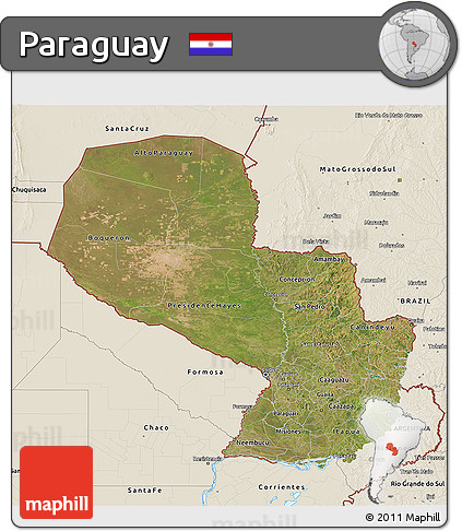 Satellite 3D Map of Paraguay, shaded relief outside