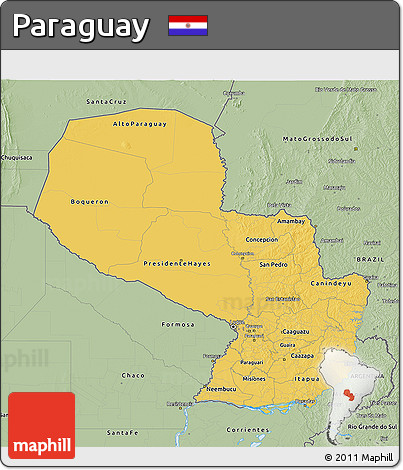 Savanna Style 3D Map of Paraguay